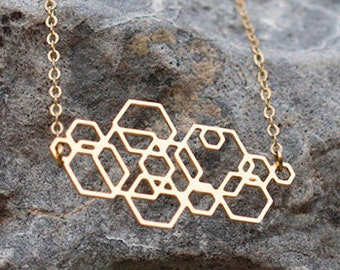 CIRCUIT. Geometric, minimalist gold necklace. Sophisticated hexagon pendant. Gold plated silver 24k. Modern jewelry. Also in Sterling Silver