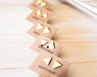 TRIANGLE EARRINGS. Minimal triangle earrings different colors. Geometric jewelry for present. Tiny studs. Small.Simple and handmade earrings