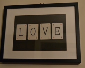 LOVE Picture made with vintage playing cards - wedding/anniversary/valentine gift
