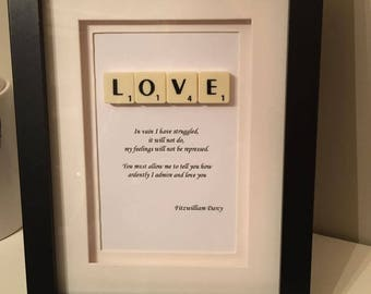 Fitzwilliam Darcy Pride and Prejudice Quote Scrabble Picture