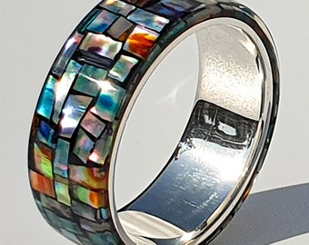 LUXE HAND Crush block rainbow mother-of-pearl black silver ring handmade resin art ring