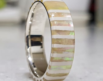 LUXE HAND handmade original strip mother-of-pearl white silver ring