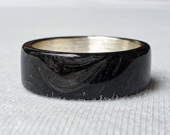 LUXE HAND Black Forged Carbon Fiber Silver Ring
