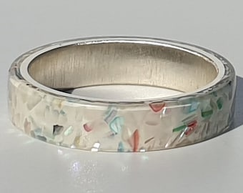 Rainbow ablalone shell white resin ring レインボーアワビシェルホワイト樹脂リング luxe hand