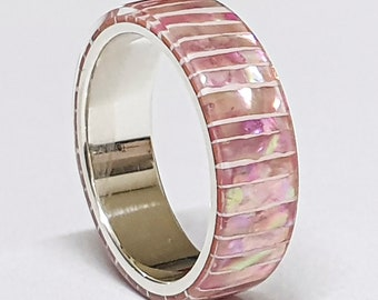 LUXE HAND Pink line strip mother-of-pearl white silver ring