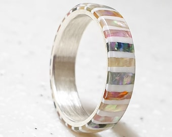 LUXE HAND handmade candy strip mother-of-pearl white silver ring