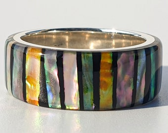 LUXE HAND rainbow line strip mother-of-pearl handmade silver ring male ring resin art