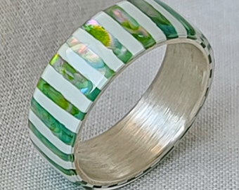 LUXE HAND handmade white green candy strip mother-of-pearl silver ring