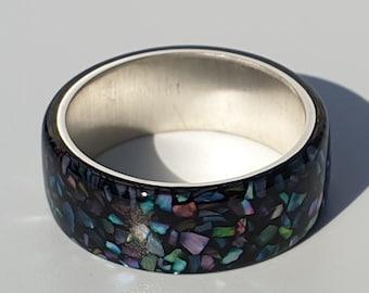 LUXE HAND Rainbow abalone black ring,ハンドメイドアクセサリー ,レジン ,樹脂リング,リング,螺鈿,螺鈿リング