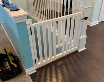 Modern Style Pet Or Baby Gate - Made To Fit - Pet Security Gate -  Wooden Security Gate - Reclaimed Wood - Dog Gate- Baby Security Gate