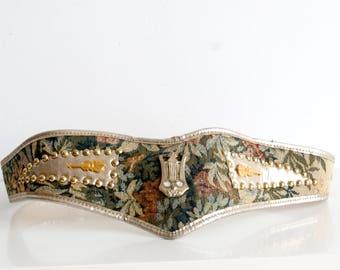 Vintage Violin Belt Violin Accessories Green Belt Vegan Leather Belt Vegan Friendly Dirndl Belt Austrian Belt Embroidered Belt
