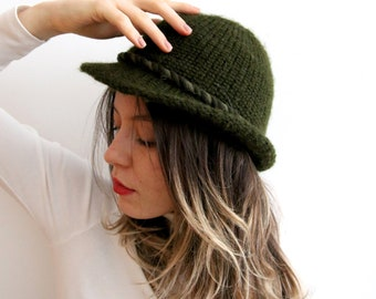 3305e0f4895 Vintage Knitted Hat Khaki Green Hat Knitted Fedora Hat Spring Hat Unisex Hat  Khaki Hat Small Size Hat Warm Hat Winter Hat Classic Hat
