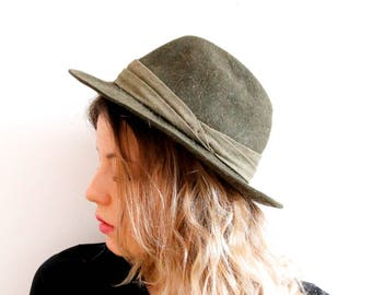 Vintage Ischler Hat Fedora Trilby Hat Khaki Green Fedora Hat Gentlemen Hat Men Fedora Hat Green Hat Warm Hat Winter Fedora Hat