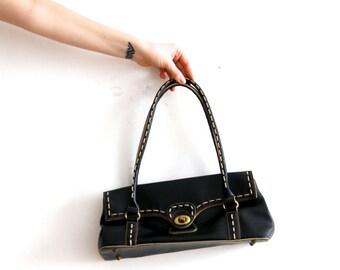 Vintage Mini Handbag Vegan Leather Bag Black Shoulder Bag Black Faux  Leather Bag Vegan Friendly Bag Black Handbag Mini Black Bag fc8f619fbb