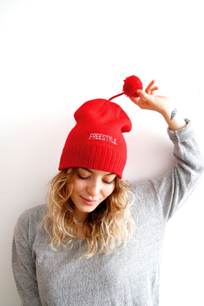 67e03d4423ee9 Vintage Beanie Hat Red Beanie Hat With Pompom Knitted Beanie