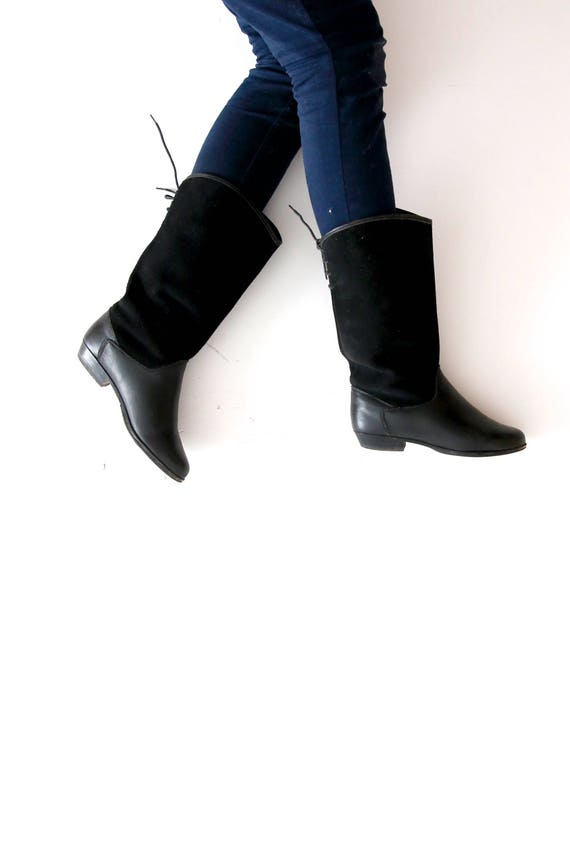 Vintage Suede Leather Boots Black Spring Boots Cow
