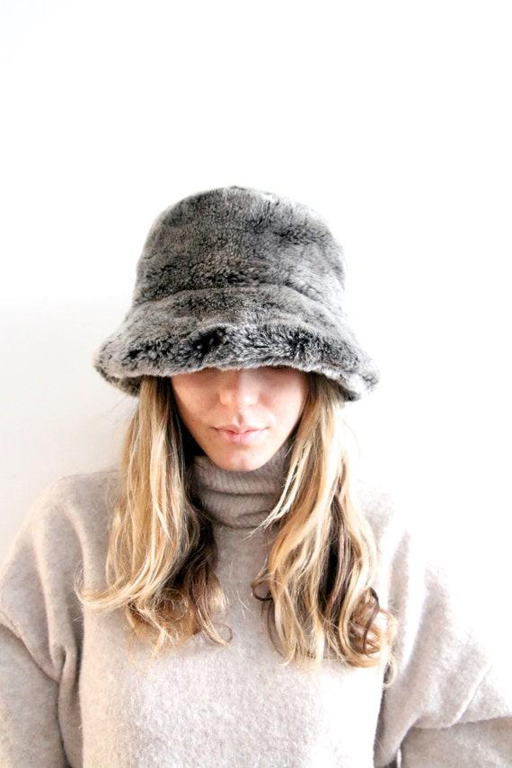 Vintage Warm Bucket Hat Faux Fur Winter Hat Warm H