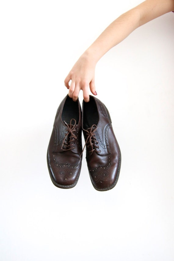 Vintage Wingtip Shoes Mens Oxford Shoes Leather Sh