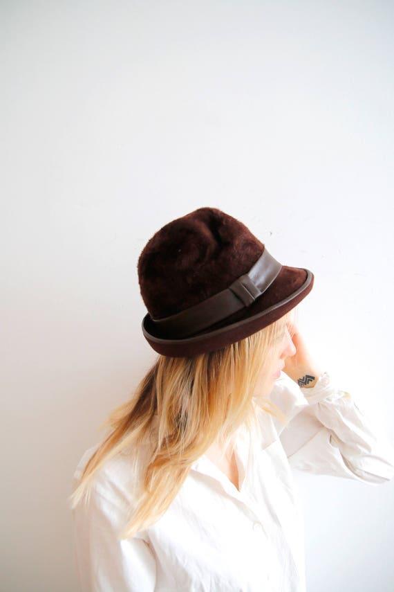 Vintage Autumn Hat Small Fedora Chocolate Brown Fedora Hat Ireland Hat  Dirndl Hat Bavarian Hat Vegan Leather Hat Unisex Fedora Brown Hat 13994fa35a5