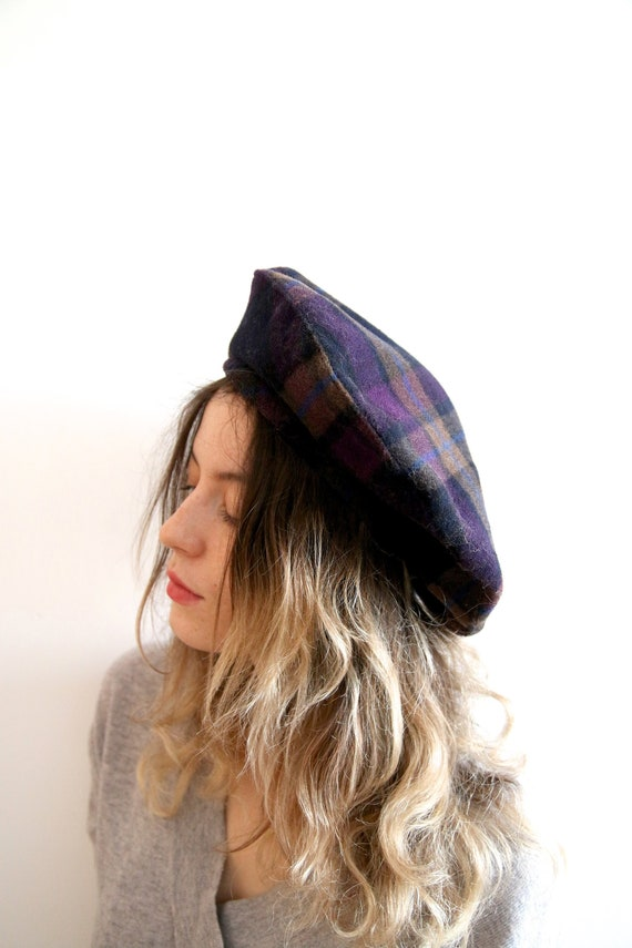Vintage Wool Beret Checkered Beret Hat Unisex Bere