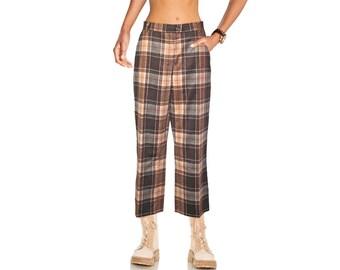 True Vintage Fine Wool 7/8 Scots Golf Pants Tartan Straight Leg NEW Gr.42 44