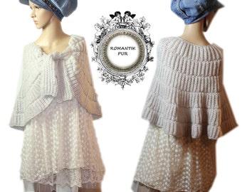 Hand knitted handmade Vintage romance mohair cape Bolero stole size 34 36 38 S