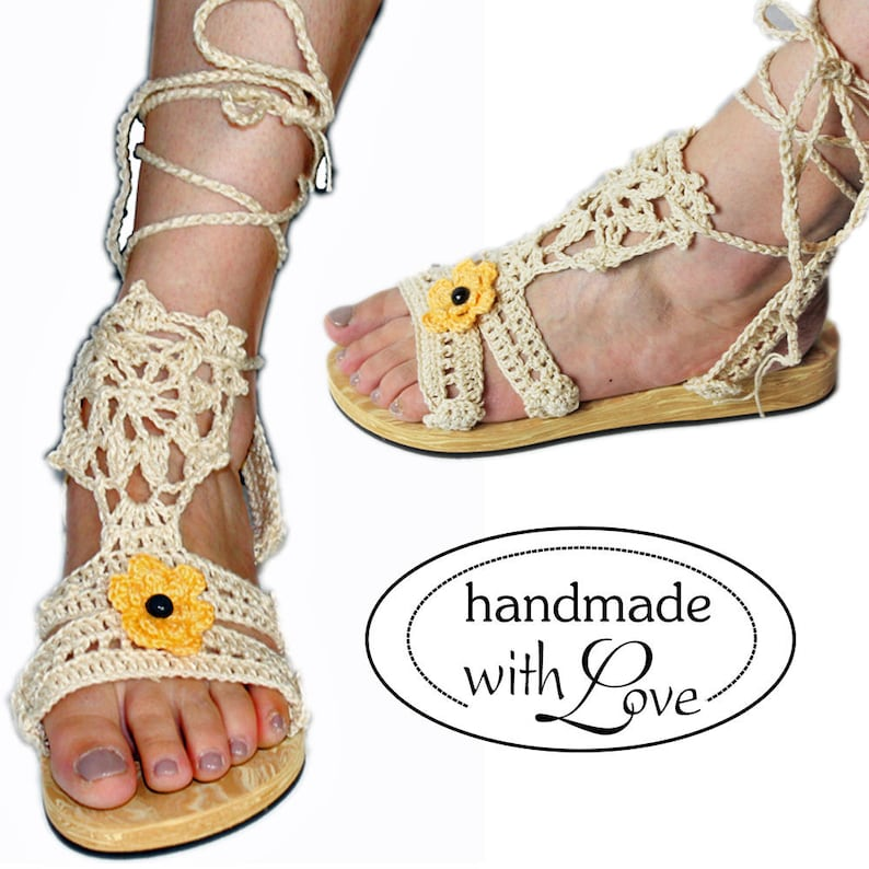 c811be9579e Handmade unique hippie Ibiza hand crocheted platform sandals