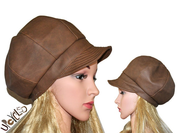 Upcycling unique handmade vintage Sarah Kay leather hat balloon hat gr.M L head circumference 56-57 cm