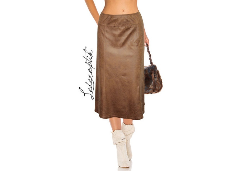 Boho Vintage Suede Look Leather OpticS Stretch Skirt Track Skirt Midiskirt Bootsrock A-Line Brown Gr.48