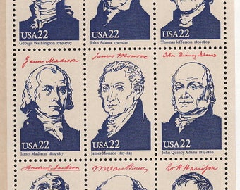 36 US Presidents Postage Stamps First 36 United States Presidents Postage Stamps 1986 UNUSED