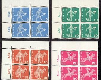 1960 Switzerland Helvetia Postal History Stamps 4 Blocks