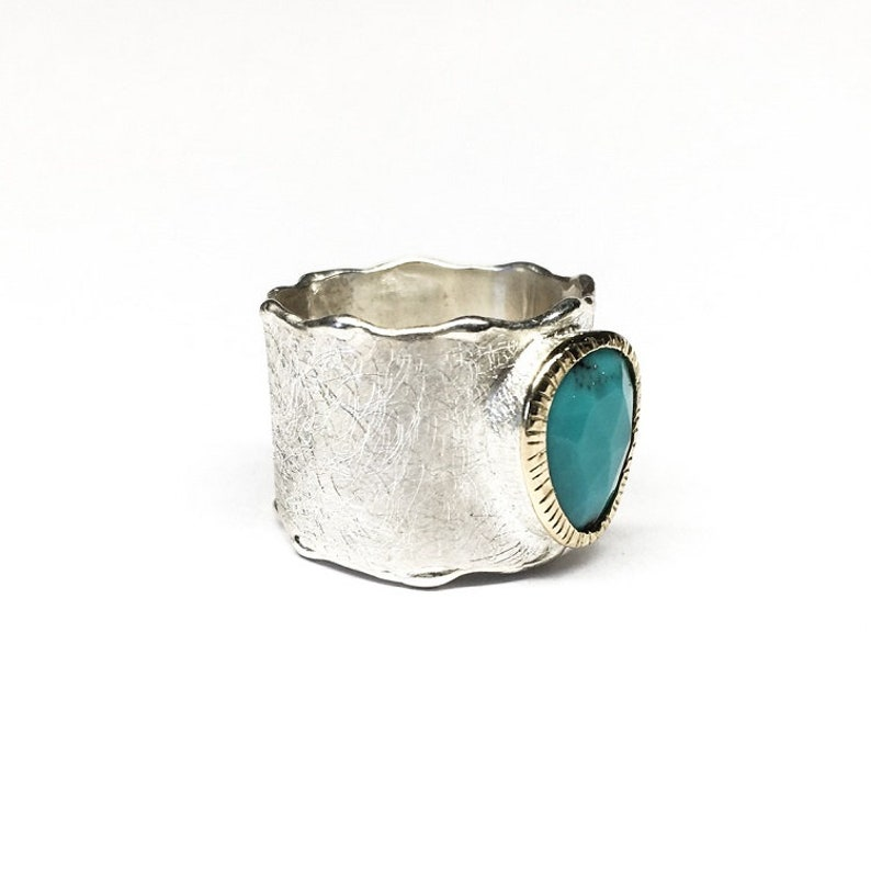 Turquoise Ring   Silver /& Gold Ring