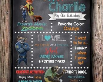 Disney Zootopia Stat Chalkboard