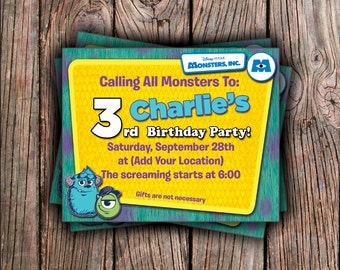 Monsters Inc. Birthday Invitation