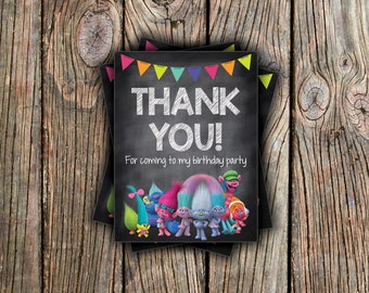 DreamWorks Trolls Thank You Card - Instant Download