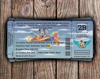 Disney Airways Birthday Invitation