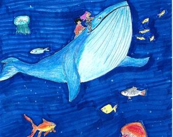 Ballena azul / Blue whale - Postcard (5x7in)