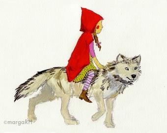 Caperucita Roja y lobo / Little Red Riding Hood & Wolf- Postcard (5x7in)