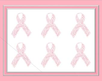 Multiple Pink Ribbon Word Art