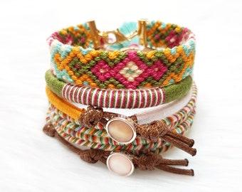 Beach Bracelet Stack, Layering Bracelets, Braided Bracelets, Thread Bracelets for Women, Bohemian Jewelry, Festival Bracelets, Summer Gift