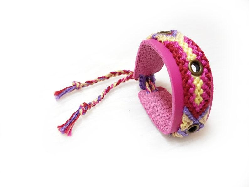 Woven Bracelet Cuff Women Pink Leather Bracelet for Kids Boho Jewelry Gift OOAK Bohemian Jewelry Women Friendship Bracelet Women