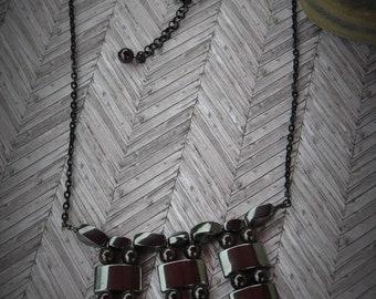 Natural Red Garnet and Hematite 3 Bar Necklace - Item 267