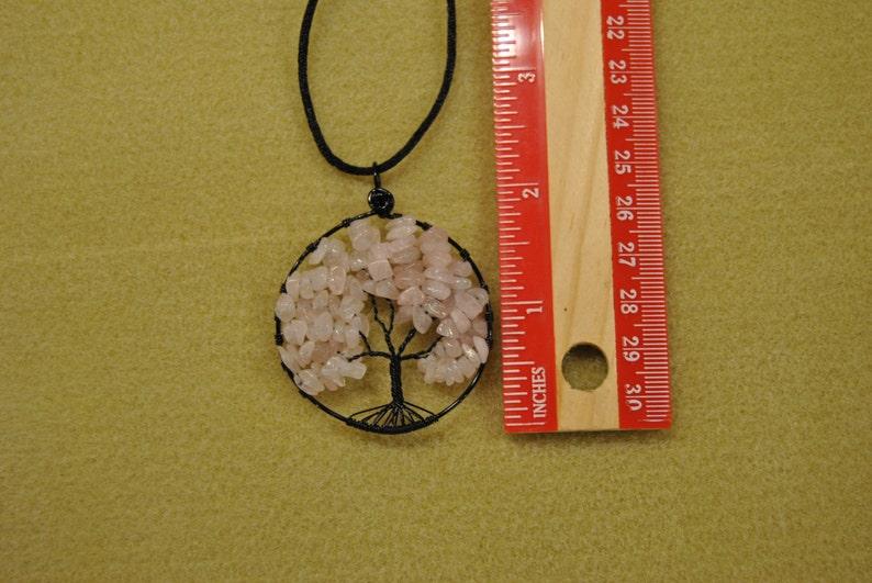 Tree of Life Rose Quartz Chip Bead Pendant Item 041