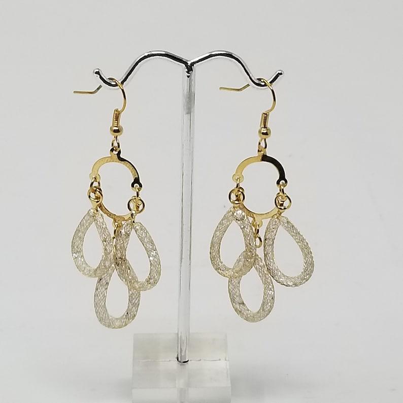 Handmade Stardust Earlobe Spectacular Earrings Sparkle Crystal Lobe LONG MESH EARLOBE Long Dangle Drop