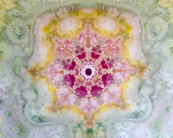 Tapestry, wall decor. Sacred geometry, mandala, tinted with ice. Tiedye Mural