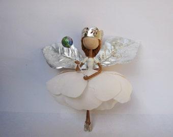 Christmas Fairy Ornament, Christmas Decoration, White Princess Fairy, Flower Fairy Doll, Birthday Gift, Ballerina fairy, Dancing Fairy