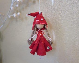 Miniature Fairy, Elf Girl, Elf Ornament, Fairy Ornament, Ballerina Ornament, Christmas tree fairy ornament, Handmade Elf doll, Pixie doll