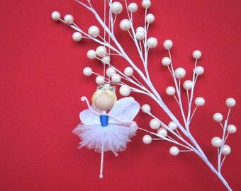 Fairy Ballerina Ornament, Fairy Doll, Christmas Fairy Tree Ornament, Miniature Fairy Doll, Handmade Fairy, Birthday Fairy Cake Topper