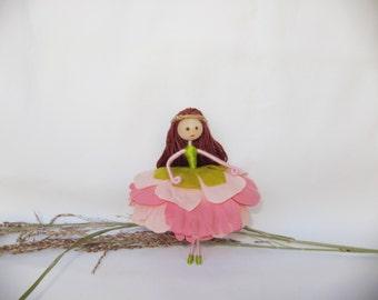 Flower fairy Doll, Fairy Doll, Flower fairy, Pink Ballerina Ornament, Dancing Fairy, Pink Fairy, Christmas fairy, Ballerina fairy
