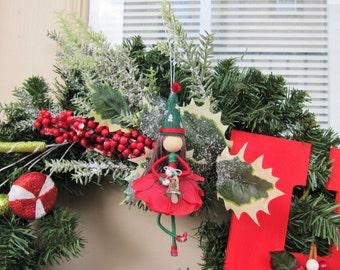 Flower Fairy Doll, Christmas Elf Doll, Fairy Doll, Christmas Ornament, Handmade Elf Girl, Elf Doll, Fairy Elf Doll, Handmade fairy doll, Elf